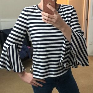LOFT striped bell sleeve top❤️New listing⭐️EUC⭐️